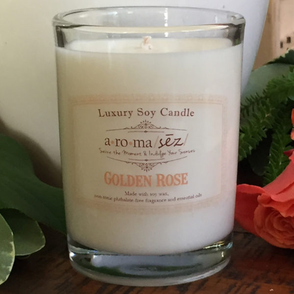 soy candle golden rose